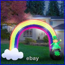 8′FT St Patricks Day Rainbow Leprechaun & Pot O Gold Lighted Airblown Inflatable