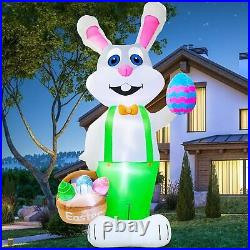 8′ Ft Easter Bunny W Basket & Easter Eggs Airblown Inflatable Lighted Yard Decor