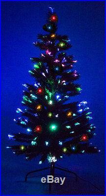 8′ Ft. Fiber Optic Green Artificial Holiday Christmas Tree with Fiber Optic Lights