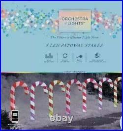 8 Gemmy Orchestra of Lights Color-Changing Candy Cane Pathway Marker Yard