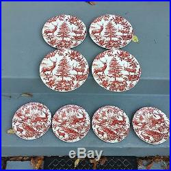 8 NEW Pottery Barn ALPINE TOILE DINNER & SALAD PLATES RED Christmas Holiday