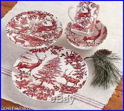 8 NEW Pottery Barn ALPINE TOILE SALAD Plates set NIB EIGHT Christmas Red & White