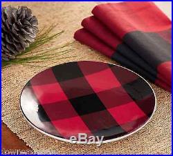 8 NEW Pottery Barn BUFFALO CHECK Salad Plates SET OF EIGHT NIB Christmas Decor