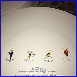 8 NEW Pottery Barn SANTA'S REINDEER DINNER PLATES ALL 8 DDPV CCDB FREE SHIP