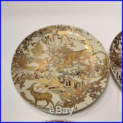 8 New Pottery Barn Alpine Toile Salad Plates In Gold Set