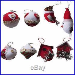 8 Piece Christmas Ornament Set Hand Made Ornaments Holiday Tree Decoration Decor