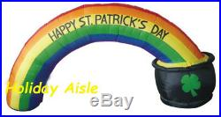 8′ ST PATRICKS DAY RAINBOW ARCH IN POT OF GOLD Air Blown Yard Inflatable