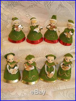 8 VINTAGE '50s NOEL CAROLER ORNAMENTSFEATHER TREE TREE TOPPERSJAPANEXCELLENT