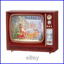 9.75 Santa & Reindeer Lighted Water TV CHRISTMAS Snow Globe 3940521 Raz Imports