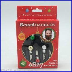 9 Fun Novelty Clip On Beard Xmas Baubles Facial Hair Clips Secret Santa Party