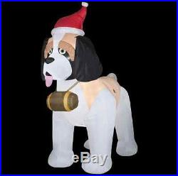 9' GIANT Inflatable St. Bernard Dog In Santa Hat Outdoor Christmas Decoration