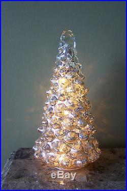 9 Silver Mercury Glass LED Light Up Christmas Tree Holiday Table Decor NEW