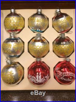 9 Vintage Glass Ornaments Christmas Tree Balls Made In USA Bradford Box Shiny