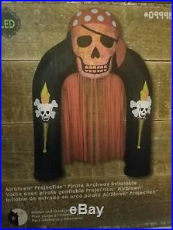 9 ft Lighted Pirate Skull Archway Halloween Inflatable Yard Airblown