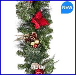 9ft (270cm) 90 LED Pre-Lit Poinsettia Red and Gold Christmas Garland