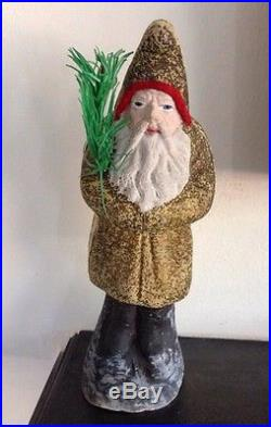 ANTIQUE BELSNICKLE SANTA DECORATION WITH GOOSE FEATHER CHRISTMAS TREE BRANCH 8