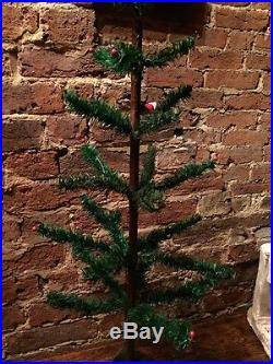ANTIQUE VINTAGE 36 TALL GOOSE FEATHER CHRISTMAS TREE