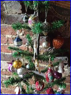 ANTIQUE VINTAGE 42 TALL GOOSE FEATHER CHRISTMAS TREE & 69 DECORATIONS