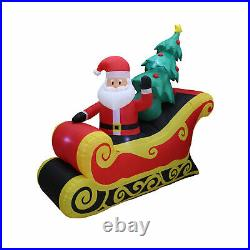 A Holiday Company 7 Ft Wide Inflatable Santa on Sleigh Holiday Lawn Decoration