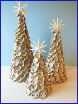 Abalone Seashell Tree Set Of 3 Christmas Coastal Decor