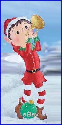 Adorable Santa Elf Playing Trumpet Garden Yard Stake Christmas Outdoor Decor NEW