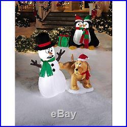 Airblown Snowman Dog Christmas Decoration Outdoor LED Light Xmas Holiday Festive