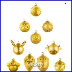 Alessi Christbaumkugeln Set Krippe 10 tlg, goldene Farbe