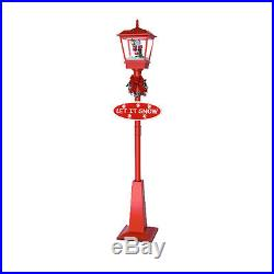 All Red Christmas Street Lamp with Santa Claus Snwoing Christmas Decoration