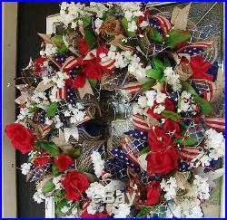 Americana Eye Candy, 4th of July Deco Mesh Front Door Wreath, Patriotic Decor
