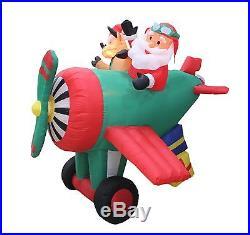 Animated Christmas Air Blown Inflatable Yard Decoration Santa Reindeer Airplane
