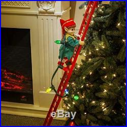 Animated Elf Trimming Christmas Tree on Ladder Decorating Holiday Home Decor NEW