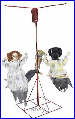 Animated GHOSTLY MERRY-GO-ROUND 3 DOLLS Music Haunted House Prop