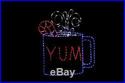 Animated Hot Cuppa Yum LED Christmas light display metal wireframe outdoor