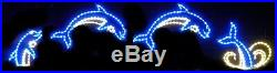 Animated Jumping XMas Dolphin Outdoor LED Lighted Decoration Steel Wireframe