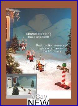 Animated Lighted Outdoor Christmas Ski Lift Santa Reindeer Snowman NIB RARE