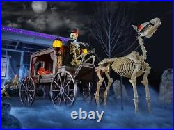 Animatronic Haunted Horse Hearse Skeleton Halloween Prop DecoYard/Outdoor