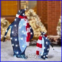 Antarctic Set of Twinkling Tuxedo Clad PENQUINS LED Christmas Winter Yard Scene