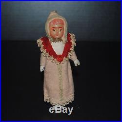 Antique German Doll Girl Christmas Ornament Original Clothes