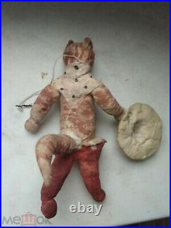 Antique Soviet Russian Christmas Decoration Cotton, Puss in Boots fairy tale