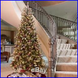 Artificial Christmas Tree 7.5 ft Pre-Lit 550 Clear Lights Berries & PineCone