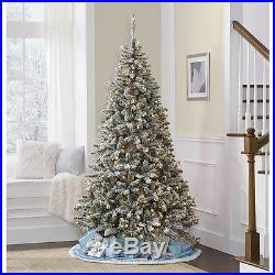 Artificial Christmas Tree 7′ Flocked Pine Pre-Lit 600 Clear Lights Decor Holiday