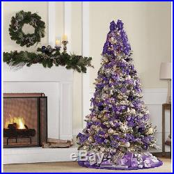 Artificial Christmas Tree 7' Flocked Pine Pre-Lit 600 Clear Lights Decor Holiday