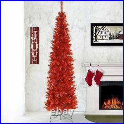 Artificial Christmas Tree Includes Stand Red Tinsel 6 ft