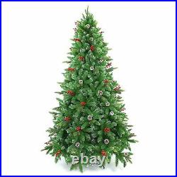 Artificial Christmas Tree Pre Decorated With Berries & Pine Cones Xmas Decor 6ft