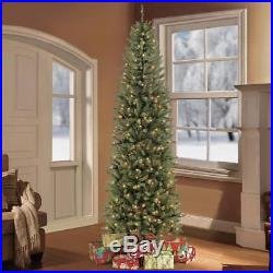 Artificial Christmas Tree Pre-Lit Fir Pencil Holiday Decoration 350 Clear Lights