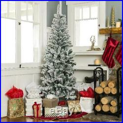Artificial Pencil Christmas Tree 7.5-foot Snow Flocked Branches Holiday Indoor