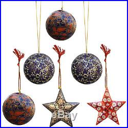 Assorted Tree Hanging Papier Mache Ornaments for Decoration (Set of 6)