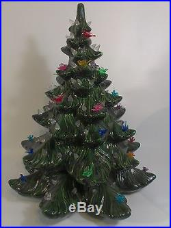 Atlantic Mold Christmas Tree Ceramic Green Ornament Bulbs Birds 16.5 Tall Xmas