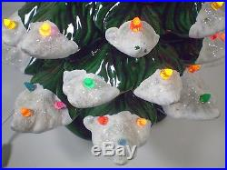 Atlantic Mold Christmas Tree Ceramic Green White Flocked 16.5 Xmas