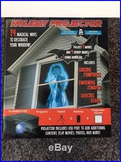 AtmosFX Indoor Outdoor 7 Piece Halloween Projector Tripod Screen Box Kit-New